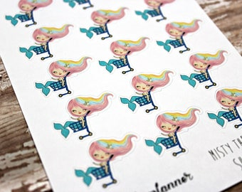 Mermaid Stickers - Mermaid Planner Stickers - Character Stickers - Misty Shopping - Grocery Shopping stickers - Shopping stickers