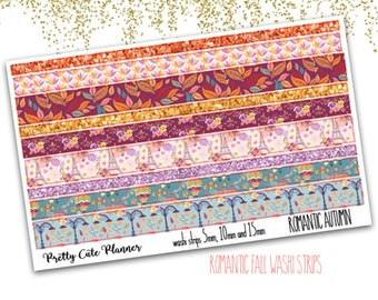 Romantic Autumn Washi Sticker Strips - Personal Planner Stickers - Travelers Notebook Stickers - BuJo Stickers - Bullet Journal - Washi