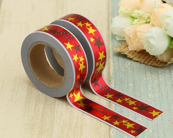 Foil Washi Tape - Foiled  Washi Tape -  washi Tape - Paper Tape - Planner Washi Tape - Washi - Decorative Tape - foiled stars washi tape