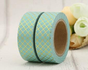 Washi Tape - Foil Washi Tape - Gold foil Aqua Washi Tape - Paper Tape - Planner Washi Tape - Washi - Decorative Tape - Paper Tape - Diamond