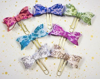 Glitter and Lace Bow Planner Clip - Planner Bookmark - Bow Planner Planner clip - Bow clip- Felt Planner Clip - Feltie clip - Glitter Clip