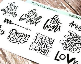 Planner stickers - Phrase Planner Stickers - Love Planner stickers - Wedding Planner stickers - Self Care planner stickers - Dream Big