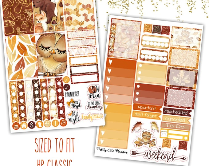 Featured listing image: Happy Planner Fall Fall In The Forest Stickers - Planner stickers - Fall Stickers -  Functional stickers - Fall Planner stickers - Woodland
