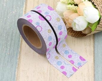 Washi Tape - Polka Dot Glitter Washi Tape - Glitter Tape - Paper Tape - Planner Washi Tape - Washi - Decorative Tape - Deco Paper Tape