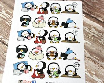 Penguin Stickers - Penguin Planner Stickers - Character Stickers - Pizza Penguin - Sick Penguin- Pay the bills Stickers - Coffee penguin