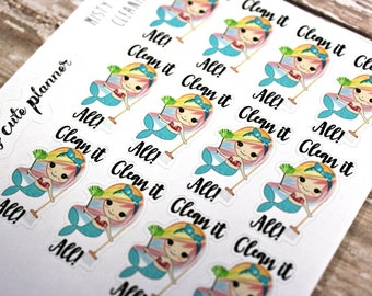 Mermaid Stickers - Mermaid Planner Stickers - Character Stickers - Misty Clean it all - Cleaning Mermaid stickers - Cleaning stickers