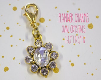 Planner Charm - Crystal Oval Charm - Flower Planner Charm - Planner Accessories - TN Charm - Travelers Notebook Charm - Midori Charm