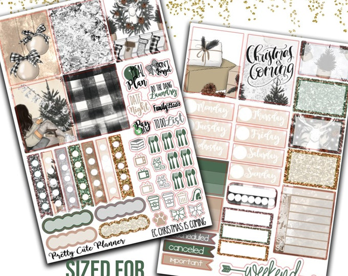 Featured listing image: Christmas is coming Planner Stickers - Planner stickers - Fits Erin Condren Life Planner - Winter Planner Stickers - Christmas Stickers