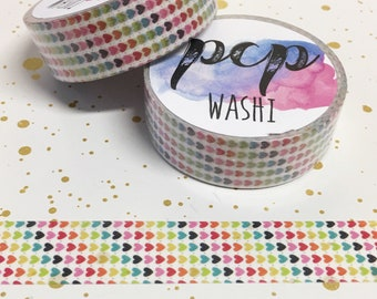 Washi Tape - Rainbow Heart Striped Washi - Rainbow washi Tape - Paper Tape - Planner Washi Tape - Washi - Decorative Tape - Deco Paper Tape