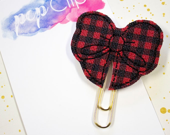 Featured listing image: Buffalo Plaid Planner Clip - Planner Bookmark - Red and Black Mini Buffalo Plaid Bow Planner Planner clip - Bow clip- Feltie planner clip