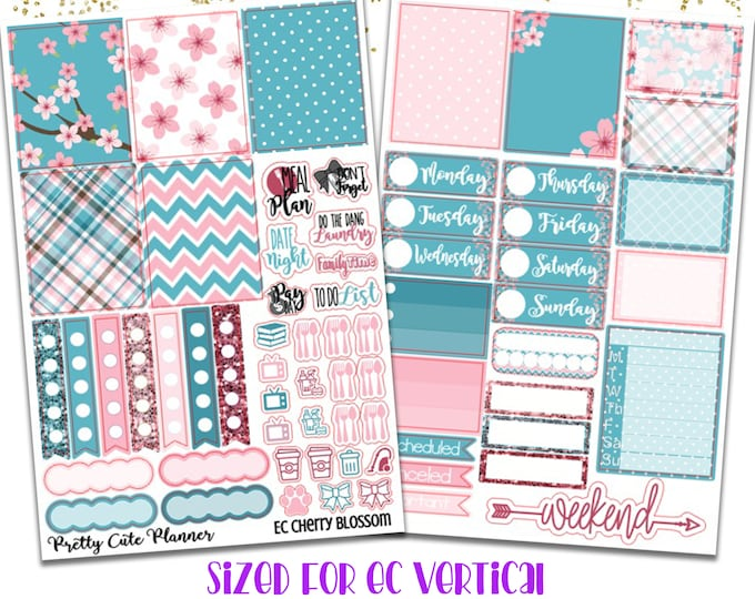 Featured listing image: Cherry Blossom Planner Stickers - Planner stickers - Fits Erin Condren Life Planner - Spring Stickers - Cherry Blossom Stickers - Spring