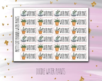 Water Plants Doodle stickers - Doodle stickers - Water Plants stickers - Succulent stickers - Plant Stickers - Gardening stickers