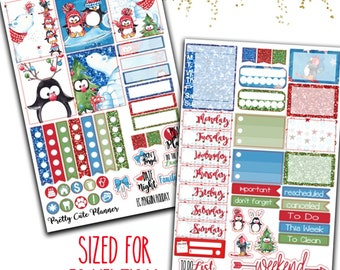 Penguin Holiday Planner Stickers - Planner stickers - Fits Erin Condren Life Planner - Penguin stickers - Christmas Penguin - holiday