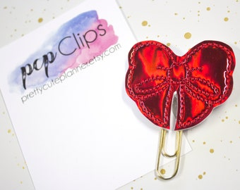 Planner Clip - Planner Bookmark - Red Holographic Bow Planner Planner clip - Bow clip- Felt Planner Clip - Feltie clip - Holo Bow