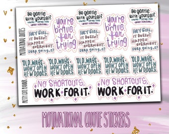 Doodle Motivational Quotes Planner Stickers- Full Box Stickers - Functional Sticker set - Motivational Stickers - fits most planners