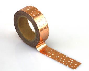 Copper Foil Polka Dot Washi Tape - Copper foil washi Tape -  Washi Tape - Paper Tape - Planner Washi Tape - Washi - Decorative Tape - Copper