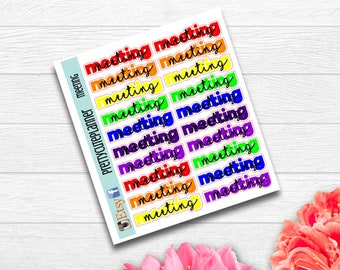 Rainbow meeting Stickers - Planner Stickers - Meeting stickers - appointment Stickers  - to do stickers  - Rainbow meeting sticker