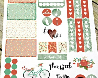Planner Stickers Sampler - Mint Coral Planner Stickers - Happy Planner - Day Designer - Functional stickers - Fits Erin Condren - Sampler