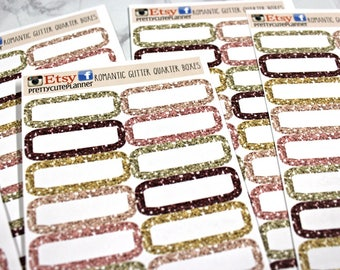 Planner Stickers - Glitter Quarter Boxes - Erin Condren Life Planner - Happy Planner - Romantic Winter - Appointment stickers - Glitter