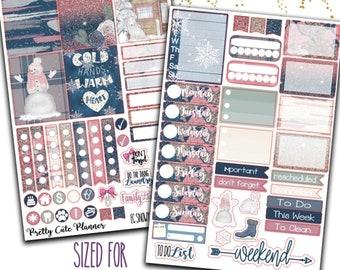 Snowy Wonderland Planner Stickers - Planner stickers - Fits Erin Condren Life Planner - Winter Planner Stickers - Snowman Planner Stickers