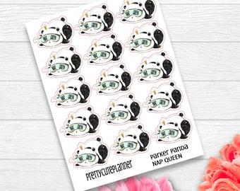 Nap Queen Stickers - Parker Panda Stickers - Panda Planner Stickers - Character Stickers - Panda Nap Stickers - Nap Queen Sticker