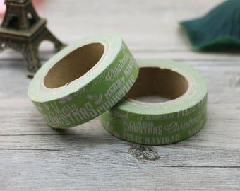 Christmas word Washi Tape - Christmas Washi Tape - Olive Green Christmas washi Tape - Paper Tape - Planner Washi Tape - Typography Washi