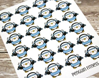 Penguin Stickers - Penguin Planner Stickers - Character Stickers - Fitness stickers - Health Stickers - Penquin weights - Penquin Fitness
