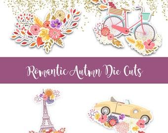 Romantic Autumn Die Cuts - Die Cut Set - Fall Die Cuts - Floral Die cut - Bicycle Die cut - Car Die cut - Eiffel Tower Die cut - Fall diecut