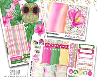 Summer Palms  BIG Happy Planner Planner Stickers - Weekly Planner Sticker Set - Functional stickers - Tropical Getaway Stickers - Summertime