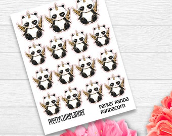 PandaCorn Stickers - Parker Panda Stickers - Panda Planner Stickers - Character Stickers - Panda Unicorn Stickers - Panda Corn sticker