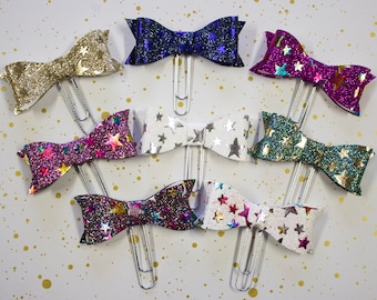 Holo Star Bow Planner Clip - Planner Bookmark - Holographic Bow Planner Planner clip - Bow clip- Felt Planner Clip - Feltie clip - Holo Bow