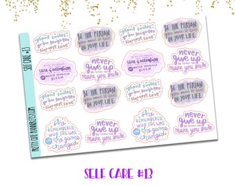 Self Care Doodle sticker 13 - Self Care Sticker - Self Care - never give up - give yourself care - she remembered who she was - plant smiles