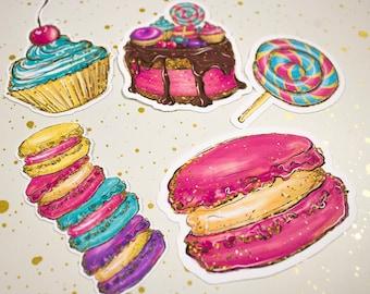 Planner Die Cuts - Die Cut Set - Happy Birthday Die Cuts - Birthday Cake Die Cut Set - Die Cuts - Macaroon Die Cut -  Cupcake Diecut