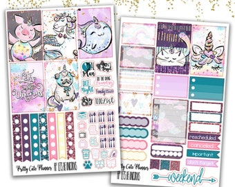 Happy Planner Lets be Unicorns Stickers - Planner stickers - Spring Stickers -  Functional stickers - Unicorn Animal stickers - kittycorn