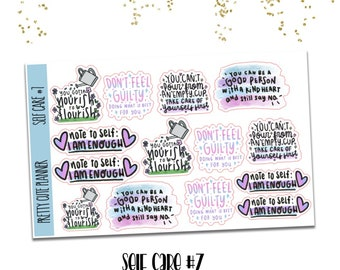 Self Care Doodle stickers 7 - hand drawn stickers - Nourish to Flourish - Don't feel Guilty - Can't pour from an empty cup - I am Enough