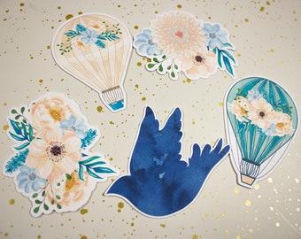 Planner Die Cuts - Die Cut Set - Balloon Ride Die Cuts - Fall Floral Die Cut Set - Die Cuts - Hot Air Balloon Diecut - Flower Diecuts