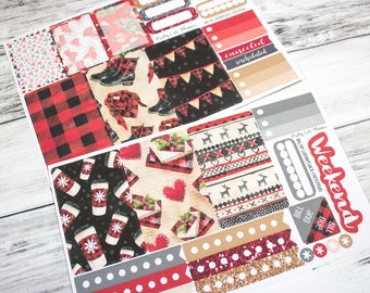 Lumberjack BIG Happy Planner Planner Stickers - Weekly Planner Sticker Set - Happy Planner - Fits EC - Lumberjack Christmas - Buffalo Plaid