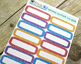 Planner Stickers - Glitter Quarter Boxes - Erin Condren Life Planner - Happy Planner - Reminder Stickers- Appointment stickers - Glitter