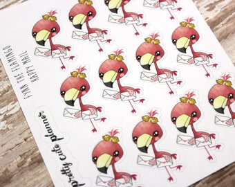 Happy Mail Stickers - Flamingo Planner Stickers - Character Stickers - Fynn Happy Mail - Happy Mail Flamingo stickers - Happy Mail sticker