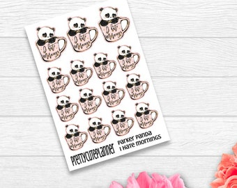 I hate mornings - Parker Panda Stickers - Panda Planner Stickers - Character Stickers - I hate Mornings Stickers - Panda Coffee stickers