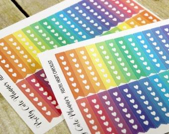 Planner Stickers - Erin Condren Life Planner - Heart Checklist - Reminder Stickers - Checklist Stickers - Functional Stickers - Rainbow List