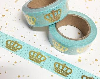 Washi Tape - Mint Crown Foil Washi Tape - Gold Foil Washi Tape - Paper Tape - Planner Washi Tape - Washi - Decorative Tape - Deco Tape