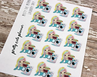 Mermaid Stickers - Mermaid Planner Stickers - Character Stickers - Misty Laundry - Laundry Mermaid stickers - Laundry stickers - Cleaning
