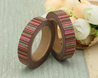 Washi Tape - Striped Washi Tape - Pink Stripe Washi Tape - Paper Tape - Planner Washi Tape - Washi - Decorative Tape - Deco Paper Tape