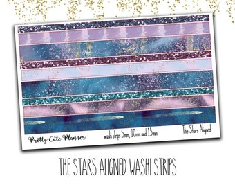 The Stars Aligned Washi Sticker Strips - Personal Planner Stickers - Travelers Notebook Stickers - BuJo Stickers - Bullet Journal - Washi