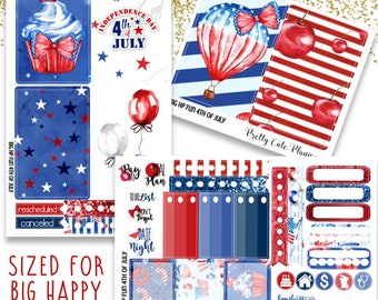 Fun 4th of July BIG Happy Planner Planner Stickers - Weekly Planner Sticker Set - Functional stickers - Bird planner stickers - Independence