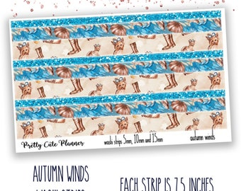 Autumn Winds Washi Sticker Strips - Personal Planner Stickers - Travelers Notebook Stickers - BuJo Stickers - Bullet Journal - Washi