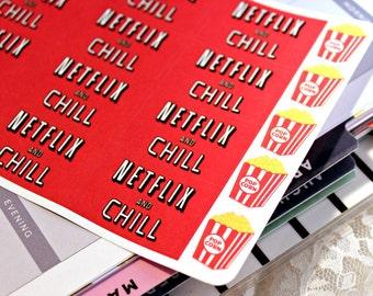 Netflix and Chill - Planner Stickers - Movie Night Stickers - Erin Condren Life Planner -Happy Planner -Reminder stickers -Calendar Stickers