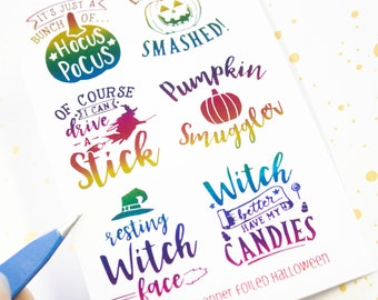 Foiled Halloween Quote Stickers - Foiled Halloween - Resting witch Face - Foil Functional sticker - Foiled - Rainbow foiled quote sticker