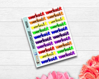 Rainbow Workout Stickers - Planner Stickers - Fitness stickers - appointment Sticker - Workout sticker  - Rainbow to do - functional sticker